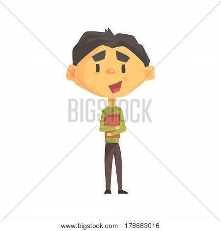 Boy In Green Sweater Holding Books, Primary School Kid, Elementary Class Member, Isolated Young Student Character. Elementary School Scholar On School Trip Flat Cartoon Illustration With Child.
