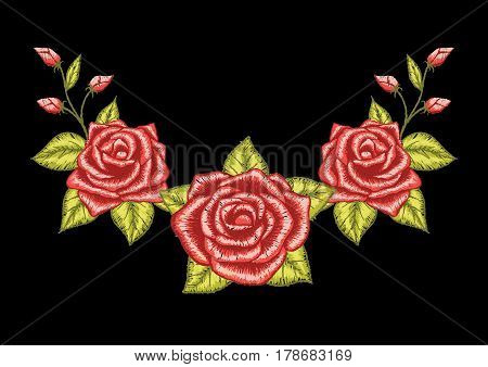 Three red roses embroidery design. Stock Vector