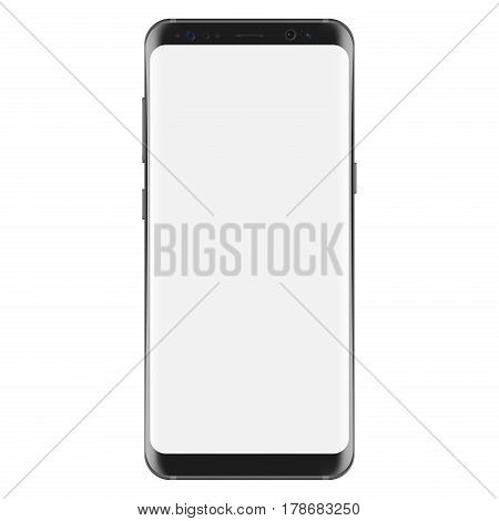 New version of modern smartphone with blank white screen