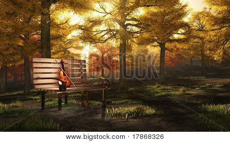 Violin in autumnal park