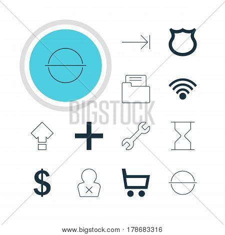 Vector Illustration Of 12 Interface Icons. Editable Pack Of Tabulation Button, Banned Member, Cordless Connection And Other Elements.