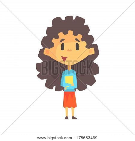 Girly Girl With Long Dark Hair Holding Books, Primary School Kid, Elementary Class Member, Isolated Young Student Character. Elementary School Scholar On School Trip Flat Cartoon Illustration With Child.