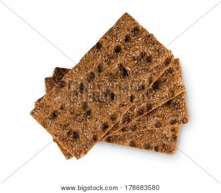 Fresh rye yeast free crispy bread with sunflower seeds isolated on white background, cutout. Whole grain healthy meal