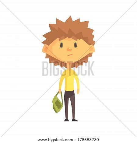Serious Boy With Spiky Brown Hair, Primary School Kid, Elementary Class Member, Isolated Young Student Character. Elementary School Scholar On School Trip Flat Cartoon Illustration With Child.