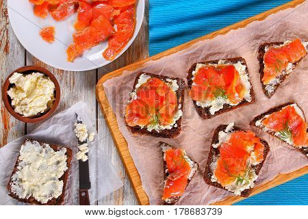 Toasts With Cream Cheese And Salmon