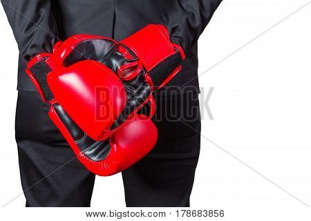 Businessmen put their glove on the back with business readiness.