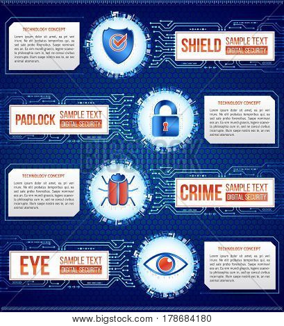 Digital technology concept of background with shield key hacker bug and eye. Circuit board background. Hi-tech electronic wires. Abstract information security. Modern safety digital background.
