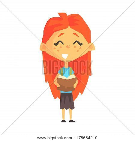 Smiling Redhead Girl Reading A Book, Primary School Kid, Elementary Class Member, Isolated Young Student Character. Elementary School Scholar On School Trip Flat Cartoon Illustration With Child.