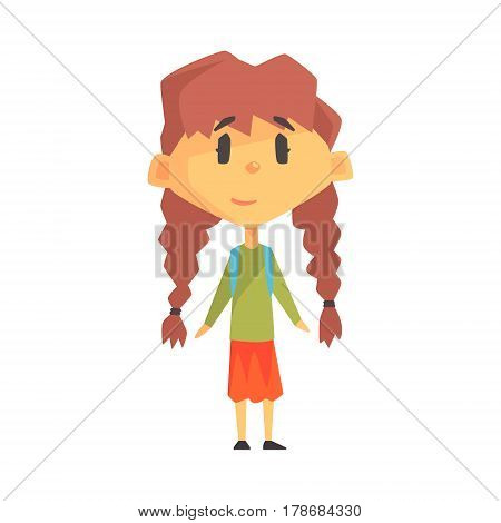 Girl With Two Plats, Primary School Kid, Elementary Class Member, Isolated Young Student Character. Elementary School Scholar On School Trip Flat Cartoon Illustration With Child.