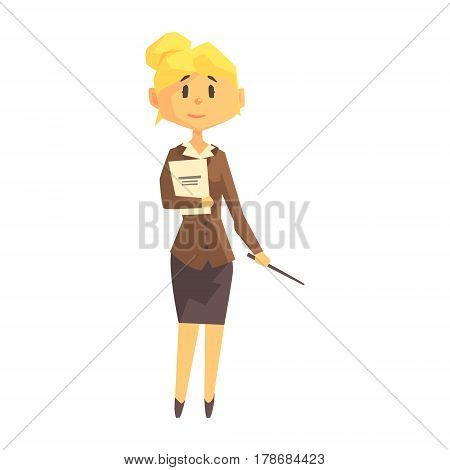 Young Woman School Teacher In Classic Outfit, Education Professional Cartoon Character. College Tutor Flat Vector Illustration With Person And Profession Isolated On White Background.