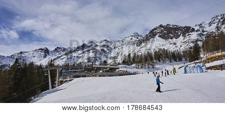 Pejo, Italy - March 8, 2017:ski Areas Around Pejo On 8 March 201