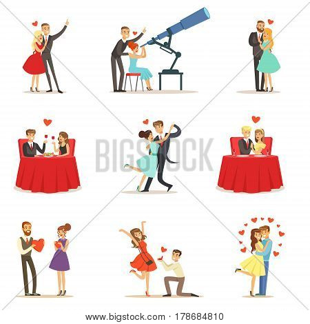Couples In Love Romantic St. Valentine s Day Date, Lovers And Romance Collection Of Vector Illustrations. Cute Cartoon Characters Loving Each Other Going Out To Celebrate Special Occasion..