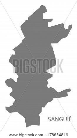 Sanguie Burkina Faso Province Map Grey Illustration Silhouette