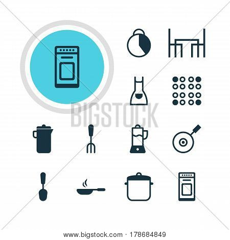 Vector Illustration Of 12 Restaurant Icons. Editable Pack Of Cooker, Soup Pan, Timekeeper And Other Elements.