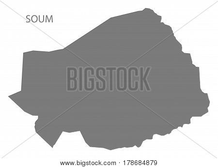 Soum Burkina Faso Province Map Grey Illustration Silhouette