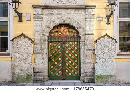 Doorway to House of Blackheads. Tallinn Estonia Europe