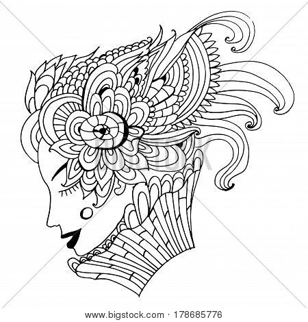 Drawing of an abstract spring girl with an unusual patterned fantastic hairdo, sketch hand drawn doodle graphic illustration