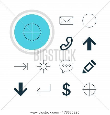 Vector Illustration Of 12 User Icons. Editable Pack Of Accsess, Pen, Message And Other Elements.