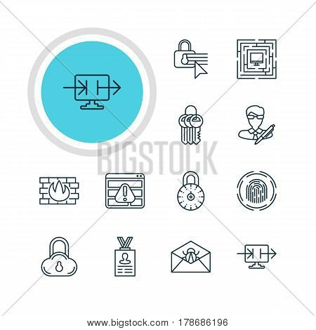 Vector Illustration Of 12 Protection Icons. Editable Pack Of Key Collection, Corrupted Mail, Account Data And Other Elements.