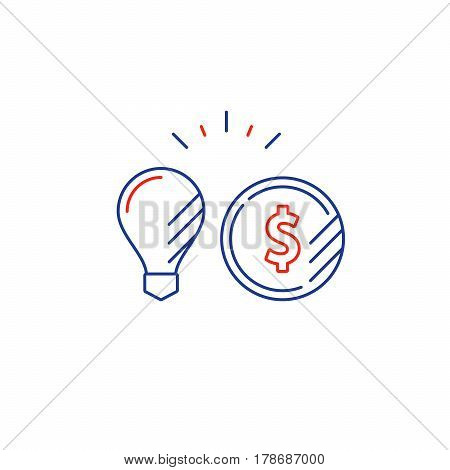 Financial investment strategy concept, finance planning logo, business start up idea, mono line vector illustration
