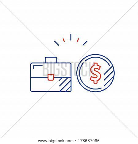 Financial investment strategy and management concept, finance planning logo, business start up money, dividend mono line vector illustration