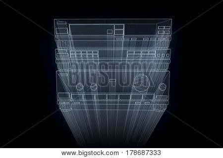 3D HIFI System in Wireframe Hologram Style. Nice 3D Rendering
