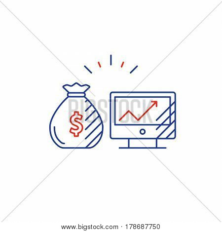 Financial investment strategy, income growth concept, finance planning logo, online business, mono line vector illustration