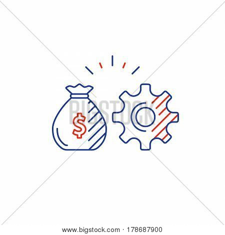 Financial investment strategy and management concept, finance planning logo, business start up development plan, mono line vector illustration