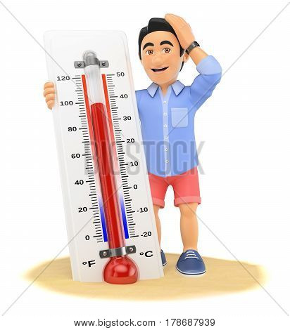 3d young people illustration. Young man in shorts with hot thermometer on the beach. Isolated white background.