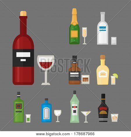 Alcohol drinks beverages cocktail whiskey drink bottle lager refreshment container and menu drunk concep different bottle and glasses vector illustration. Restaurant tequila rum party pub cognac.