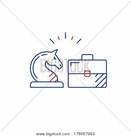 Financial investment strategy and management concept, finance planning logo, business start up, mono line vector illustration