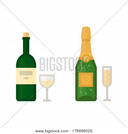 Alcohol champagne drinks beverages cocktail drink bottle lager refreshment container and menu drunk concep different bottle and glasses vector illustration. Restaurant tequila rum party pub cognac.