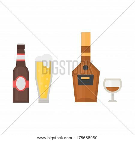 Alcohol beer drinks beverages cocktail whiskey drink bottle lager refreshment container and menu drunk different bottle and glasses vector illustration. Restaurant tequila rum party pub cognac.