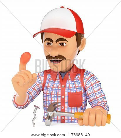 3d working people illustration. Worker with a finger swollen by a hammer. Work accident. Isolated white background.