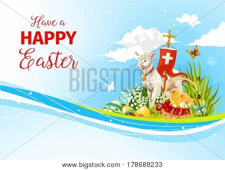 Happy Easter greeting card with passover lamb and crucifix cross symbol on flag, paschal eggs in spring flowers and willow switches. Vector Easter template for Resurrection Sunday religion holiday