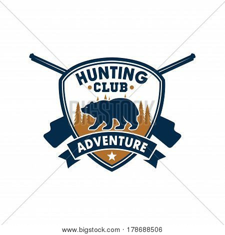 Hunting club and outdoor adventure symbol. Wild bear and forest trees on heraldic shield with crossed rifles and ribbon banner. Membership badge for hunt club, hunting camp, sports competition design