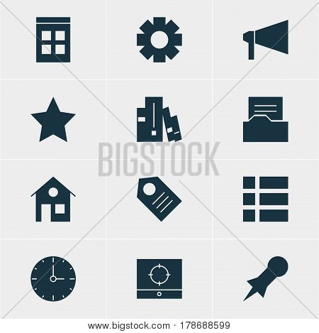 Vector Illustration Of 12 Online Icons. Editable Pack Of Gear, House, Document Directory And Other Elements.