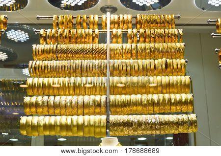 Bracelets on a show window jewelry store