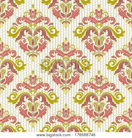 Damask vector classic colorful pattern. Seamless abstract background with repeating elements. Orient background