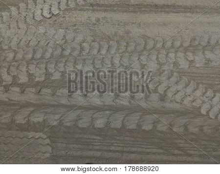 wheel track and cement powder on cement floor for background