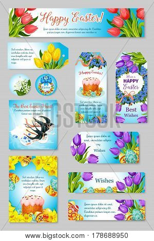 Easter greeting cards, banners and tags set of paschal eggs and cake, spring flowers or willow wreath bunch and swallows. Happy Easter vector templates design for religion springtime holiday
