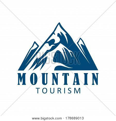 Mountain tourism and climbing sport icon. Mountain landscape with snowy peak and rocky hills for travel or extreme sport symbol, outdoor adventure and expedition badge design