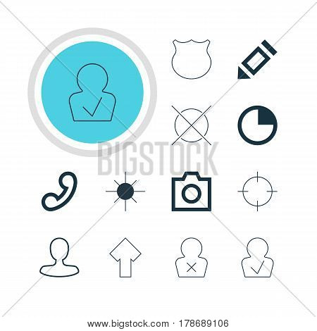 Vector Illustration Of 12 Member Icons. Editable Pack Of Full Brightness, Upward, Banned Member And Other Elements.