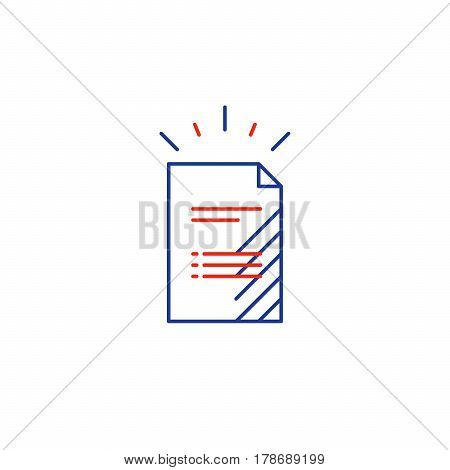 Document sheet, resume concept, application form, business documentation, vector mono line icon