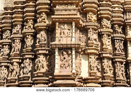 Detail Of Artwork At The Khajuraho Temple