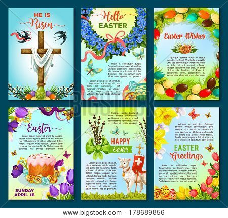 Easter greetings poster template. Easter egg and cake, spring flower wreath, Easter lamb and crucifix cross cartoon banners, decorated by flower of lily, tulip and narcissus, swallow bird, butterfly