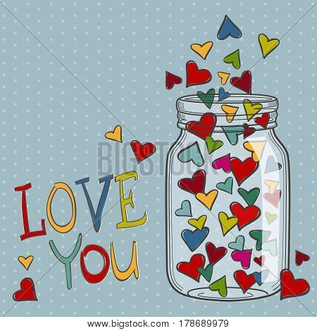 Illustration of bright vector hearts for Valentines Day