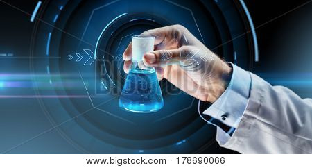 science, chemistry, research and people concept - close up of scientist hand holding test flask with chemical over virtual projection