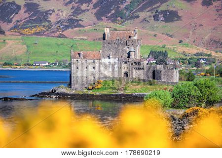 The Eilean Donan Castle During Springtime In Highlands Of Scotland