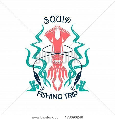 Fishing sport icon of squid with lure, line and seaweed. Sea fishing trip symbol, squid fishing tour emblem design